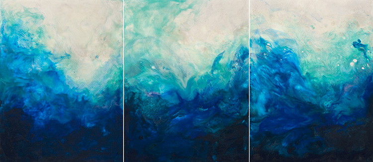 Surfacing 1,2&3  Triptych 54x24x2 Iridescent Encaustic on Cradled Panel