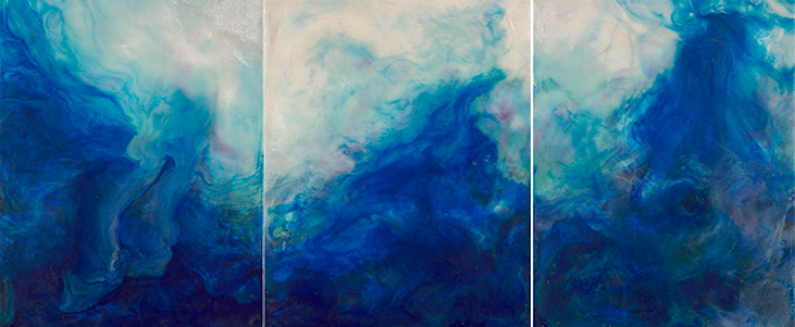 Turbulence - Triptych 24x10x1.5 Iridescent Encaustic on Cradled Panel