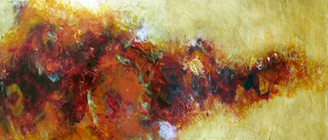 EdgeOfFire Diptych 48x18x2 Iridescent Encaustic on Cradled Panel