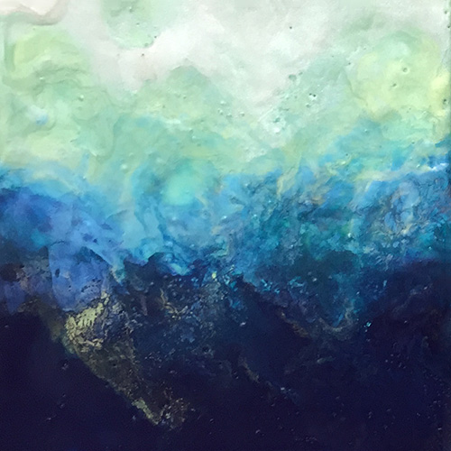 SeaStorm 8x8x1 Iridescent Encaustic on Cradled Panel